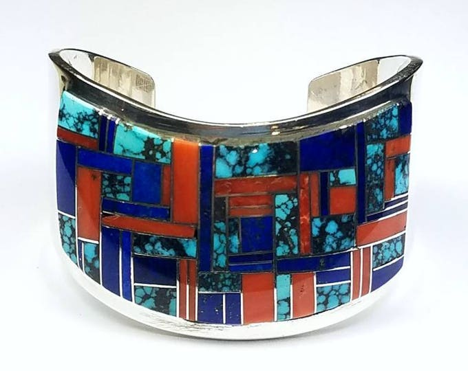 Featured listing image: Native American Navajo handmade Sterling Silver multi-stone inlay cuff bracelet by Tommy Jackson
