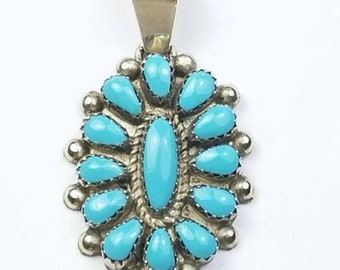 Native American Zuni handmade Sterling Silver Turquoise pendant