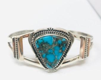 Native American Navajo handmade sterling silver turquoise adjustable cuff bracelet