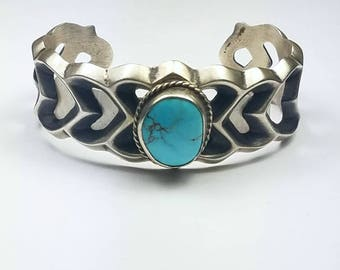 Native American Navajo handmade Sterling Silver natural high grade Castle Dome Turquoise cuff bracelet
