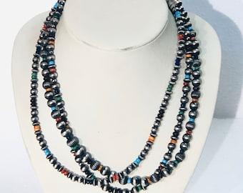 Native American Navajo handmade sterling silver and multicolored 5 strand beaded necklace
