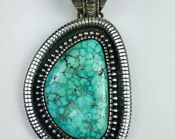 Vintage Native American Navajo handmade Sterling Silver Waterweb Turquoise stone pendant