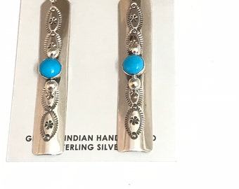 Native American Navajo Handmade Sterling Silver Sleeping Beauty Turquoise Dangle Earrings