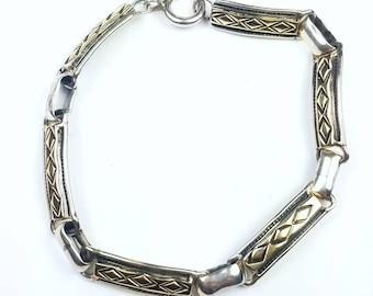 Native American Navajo handmade Sterling Silver 14k Gold link bracelet
