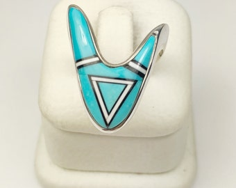 Native American Navajo Handmade Sterling Silver Torquoise Dolomite Ring