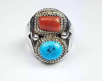 Native American Navajo handmade Sterling Silver Turquoise and Coral ring