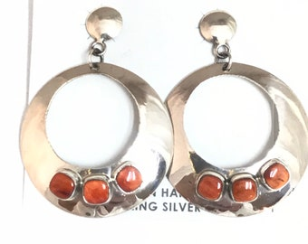 Native American Navajo Handmade Sterling Silver Spiny Oyster Shell Dangle Earrings