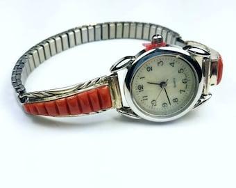Native American Navajo handmade Sterling Silver inlay Coral stone watch