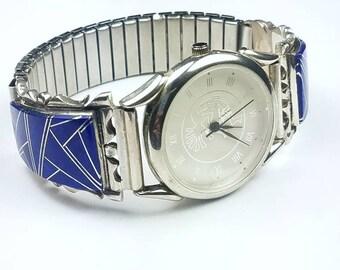 Native American Navajo handmade Sterling Silver inlay Lapis stone watch