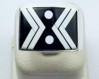Native American Navajo handmade Sterling Silver multi-stone inlay ring