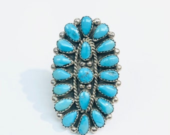 Native American Navajo handmade sterling silver turquoise statement ring