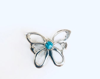 Native American Navajo handmade sterling silver turquoise butterfly pin and pendant