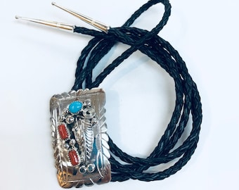 Native American Navajo handmade sterling silver turquoise/Mediterranean coral men's or women's bolo tie