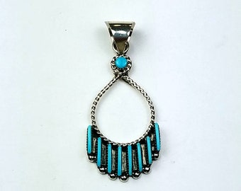 Native American Zuni handmade Sterling Silver needle point Turquoise pendant