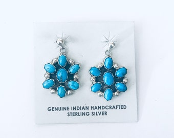 Native American Navajo handmade sterling silver and Kingman Turquoise heavy weight dangle earrings