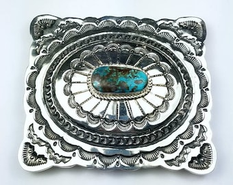 Native American Navajo handmade Sterling Silver Pilot Mountain Turquoise stone belt buckle