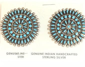 Native American Handmade Sterling Silver Sleeping Beauty Turquoise Needlepoint Stud Earrings