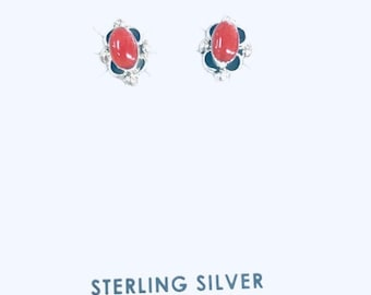 Native American Navajo handmade sterling silver stud earrings set with red coral