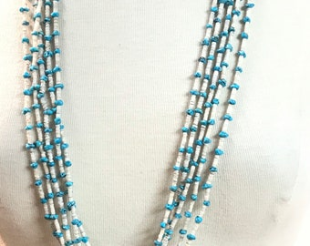 Vintage Estate Piece Native American Handmade Santo Domingo 5 strand Turquoise and Pin Shell Heishi Bead Necklace