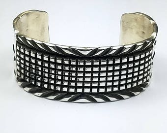 Native American Navajo handmade Sterling Silver cuff bracelet by Jerrold Tahe