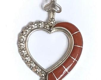Native American Zuni Handmade Sterling Silver Coral Inlay Heart Pendant