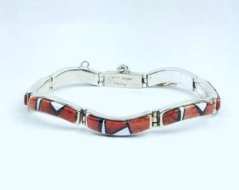 Native American Navajo handmade Sterling Silver multi-stone inlay bracelet by Calvin Begay