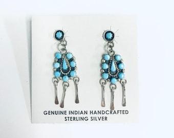 Native American  Zuni handmade Sterling silver and Sleeping Beauty Turquoise dangle earrings