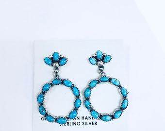Native American Navajo handmade sterling silver stud with dangle hoop earrings set with high grade Blue Gem Turquoise