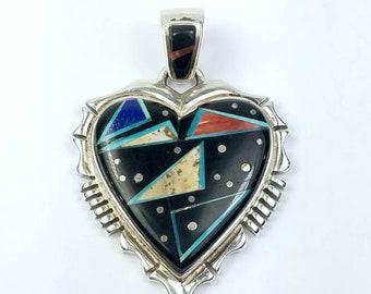 Native American Navajo handmade Sterling Silver multi-stone inlay heart pendant