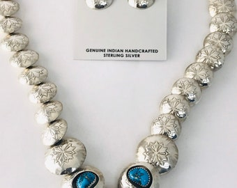 Reversible Native American Navajo Handmade Sterling Silver and Turquoise Necklace and Earring Set