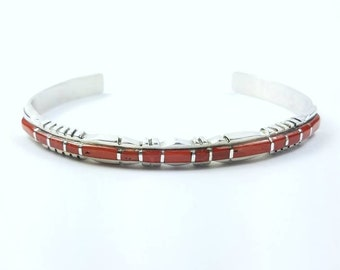RESERVED: Native American Zuni handmade Sterling Silver inlay Coral bracelet