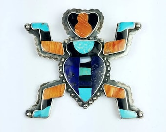 Vintage Native American Zuni handmade Sterling Silver multi-stone inlay brooch