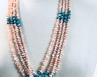 Vintage Estate Piece Native American Navajo 4 Strand Turquoise and Pink Coral Necklace