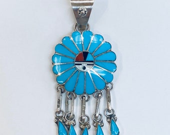 Native American Zuni Inlay handmade sterling silver and turquoise Sun God pendant