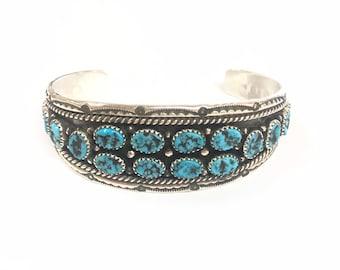 Native American Navajo handmade unisex sterling silver cuff braceket set with Kingman turquoise stones
