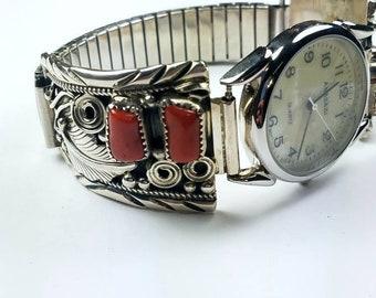 Native American Navajo handmade Sterling Silver Mediterranean Coral stone watch