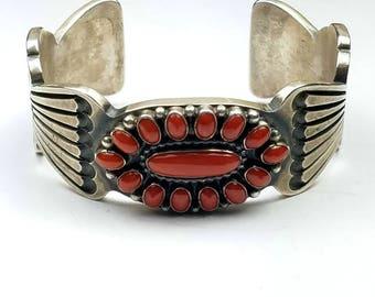 Vintage Native American Navajo handmade heavy gauge Sterling Silver Mediterranean Coral cuff bracelet