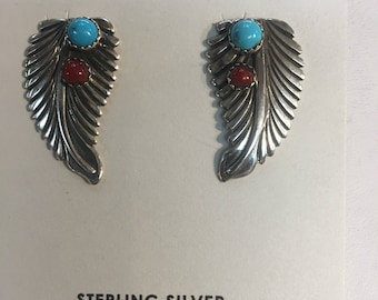 Native American handmade sterling silver post earrings set with genuine turquoise and coral