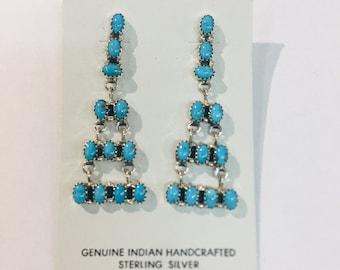 Native American Navajo handmade sterling silver and turquoise dangle earrings