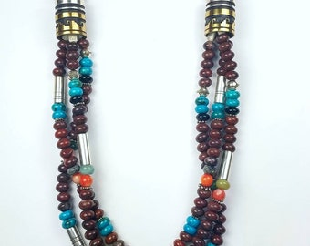 Native American Navajo handmade 3 strand multi stones bead necklace by Tommy Singer