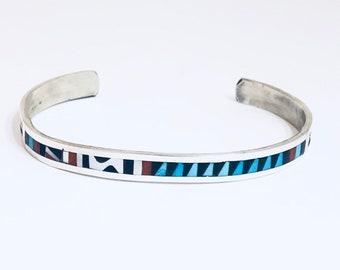 Native American Handmade Zuni Inlay Sterling Silver Multi Stones Cuff Bracelet
