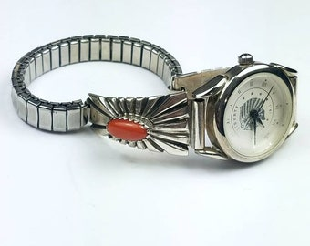 Native American Navajo handmade Sterling Silver Coral stone watch