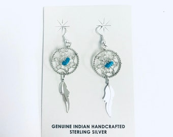 Native American Navajo handmade Dream Catcher sterling silver dangle earrings designed with Kingman Turquoise stones
