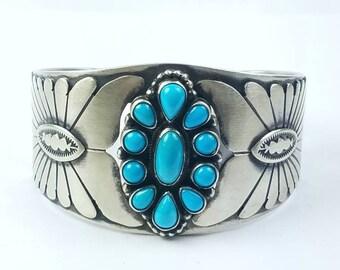 Native American Navajo handmade Sterling Silver Sleeping Beauty Turquoise cuff bracelet