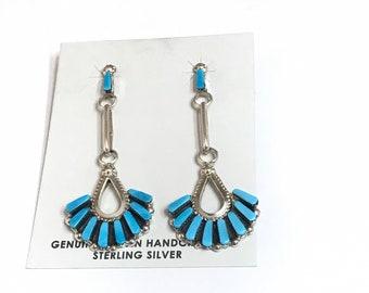 Native American Zuni Handmade Sterling Silver Sleeping Beauty Turquoise Dangle Earrings