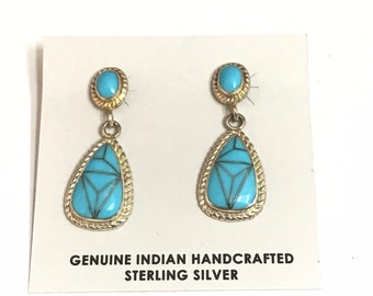 Native American Handmade Sterling Silver Turquoise Inlay Dangle Earrings