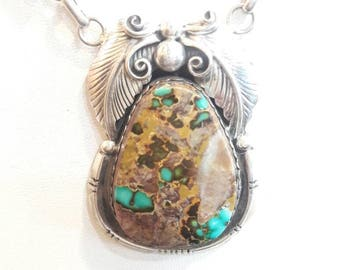 Native American Navajo handmade Sterling Silver and Turquoise  necklace