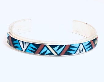 Native American Handmade Zuni Multi-Stone Inlay Sterling Silver Cuff Bracelet