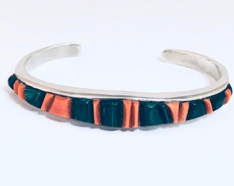 Native American Handmade Zuni Raised Channel Inlay Sterling Silver, Malachite and Spiny Oyster Shell Cuff Bracelet