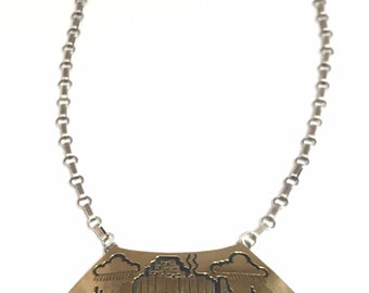 Native American Handmade Sterling Silver with 14KT Gold Overlay Choker/Neclace